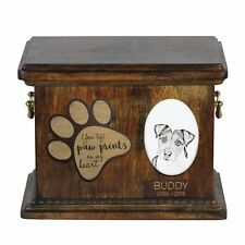 Parson Russell terrier - Urn for dog's ashes, ceramic plate and description Usa