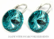 *STERLING SILVER*- RIVOLI -Light Turquoise Earrings made with SWAROVSKI Crystals
