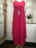ITALIAN LAGENLOOK AMAZING QUIRKY BOHO LONG PINK DRESS SIZE 14-18