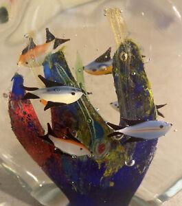 MURANO Art Glass AQUARIUM Fish Coral  Hand Blown Paperweight