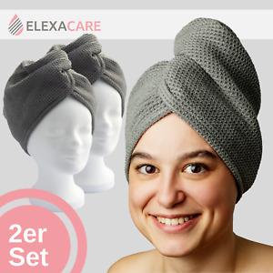Haarturban, Mikrofaser Turban Handtuch mit Knopf (2er Set, grau) Kopfhandtuch