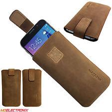 MX ECHT LEDER Slim Cover Case Schutz Hülle Etui Tasche für UHANS U100 BRAUN