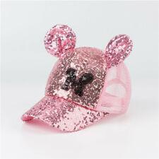 Disney Summer Hats Baby Girls Sequin Net Cap Mickey Minnie Mouse Adjustable Hats