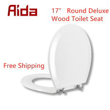 17� Heavy Duty Wood Toddlers & Adult Round Toilet Seat Home Seat Slow-Close