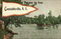 Constableville NY Pennant Greeting c1910 Postcard #1
