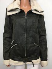 Somedays Lovin Aviator Jacket w/Faux Shearling Fur Trim Size S