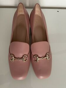 Gucci Pink Leather Princetown Horsebit Heeled loafers Size 39 marmont