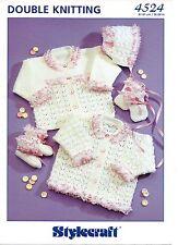 "Stylecraft 4524 Vintage Baby Girl Knitting Pattern DK 16-24"" Cardigans Pram Set"