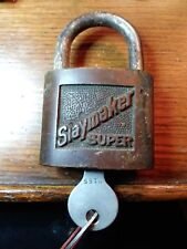 Antique Vintage Brass Slaymaker Super Pad Lock W/ Key PadLock  Working Lock