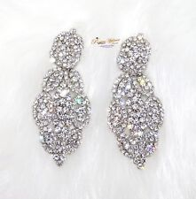 Elegant Beautiful Crystal Silver Cocktail Party Earring Jewellery For Ladies