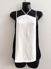 WITCHERY BLACK & IVORY PANEL CAMI TOP SIZE 10 AS NEW