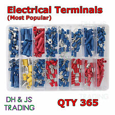 Assorted Box of Electrical Terminals qty 365 Terminal Butt Ring Spade Bullet Tab