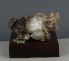 Chinese Exquisite Hand-carved Dushan Jade Dragon turtle statue
