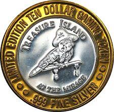 Treasure Island $10 Las Vegas 999 Silver Casino Token