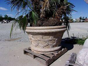 Desert Gold Granite Planter Large Outdoor Round Carved Flower Pot Holder