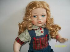 Pouty Face Bisque Porcelain Doll Blond Girl in Overalls