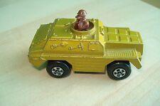 Vintage Diecast Matchbox Rolamatics 1973 #28 Stoat Gold Toy Armoured Car Tan