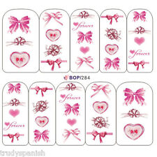 Nail Art Water Decals Stickers Transfers Pretty in Pink Bows Hearts Gel Polish
