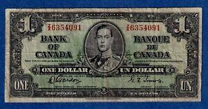 CANADA $1 (1937) BC-21c Circulated Note ** Z/A 6354091 **  ✹CN 0013✹