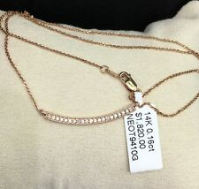 14k Solid Rose Gold Genuine 0.16CT Diamond Bar Necklace Pendant. Retail $1820