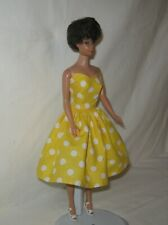 Handmade SHORT Cotton Yellow with White Dots Print Dress FOR Dolls