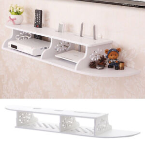 Floating Wall Mount Console TV Media Shelf DVD Cable Sky Box Tidy Storage Holder