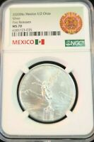 2020 MEXICO SILVER LIBERTAD 1/2 ONZA NGC MS 70 KEY DATE VERY SCARCE PERFECTION