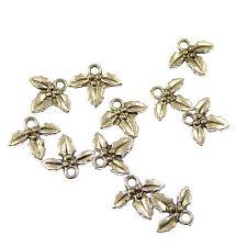 Wholesale x 10 Holly leaf charms 1.2cm Christian pendants Christmas
