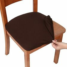 smiry Seat Covers for Dining Room Chairs Stretch Jacquard Set of 6, Chocolate Br