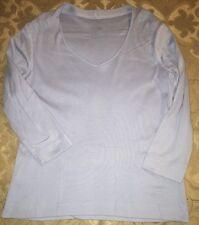 Talbots Size Small Light Blue 3/4 Sleeve V-Neck Top 100% Pima Cotton Women's