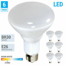 6 Pack BR30 LED 10W Watt 120V 700 Lumens Medium E26 Dimmable 2700K Warm White