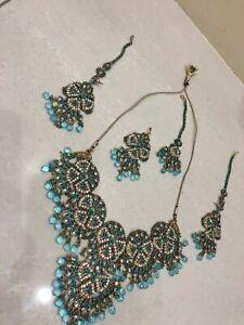 Indian Pakistani Bollywood Bridal Jewellery Choker Earring Tika Jhummar Sea Blue