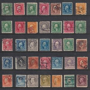 US STAMP WASHINGTON AND FRANKLIN USED STAMPS COLLECTION LOT 24 stamps
