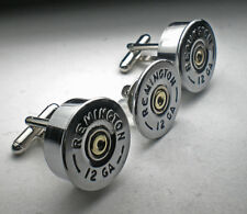 12 Gauge Remington Nickel Bullet Head Cufflinks Groomsmans Cufflinks Tie Tac Set