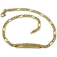 Armband Gelbgold 18K 750, Platte, Kette Figaro 3+1, Dicke 3mm, 21cm
