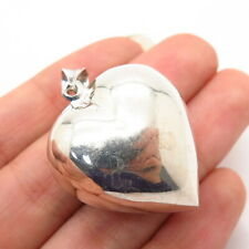 925 Sterling Silver Hollow Puffy Heart Design Pendant