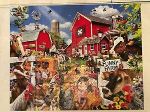 """WHITE MOUNTAIN JIGSAW PUZZLE 1000 PIECE """"FUNNY FARM"""" 24 X 30 SEEK & FIND PUZZLE"""
