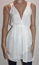 Lucky 13 Designer Pretty White Chiffon Pink Lace Day Dress Size S BNWT #sl64