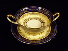 Vintage Signed Royal Doulton Cobalt Blue & Gilt Handled Loving Cup W/ Underplate