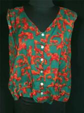 Plus Size Vintage 1950'S-1960'S French Green Print Rayon Blouse Size 44-46