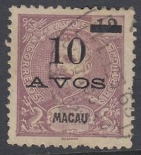 Macao :1905 10 Avos opt on 12a dull-purple Sg184 used