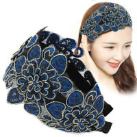 Women's Wide Flowers Headband Hairband Lace Hair Band Hoop Accessories Vintage