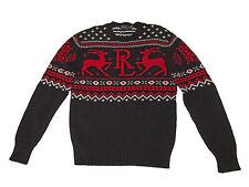 Polo Ralph Lauren Black Red Fair Isle Reindeer Cotton Cashmere Sweater Medium