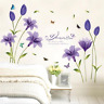 Romantic Purple Lily Flower DIY Removable Bedroom Lovers Wall Stickers TV/Sofa