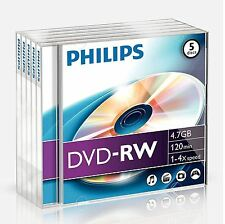 Philips DVD-RW 120 minutes 4.7GB 4X Speed Recordable Blank Discs - 5 Pack Cases