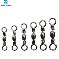 50Pcs Super Strong Fishing Swivel Brass Barrel Rolling Swivel Connector 1/0-6/0