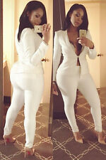 New FashionCelebrity Women Blazer Set White Suit with Bodycon Pencil Pants White
