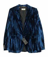 Saint Laurent Paris Blazer Jacket Crinkled Velvet - Blue UK12/FR40 RRP £2445 New