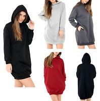 New Womens Ladies Hooded Long Sleeve Sweatshirt Oversized Jumper Dress Top