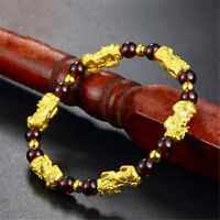 Chinese Lucky Feng Shui Gold Brave Troop PiXiu Beads Garnet Bracelet Cuff Bangle